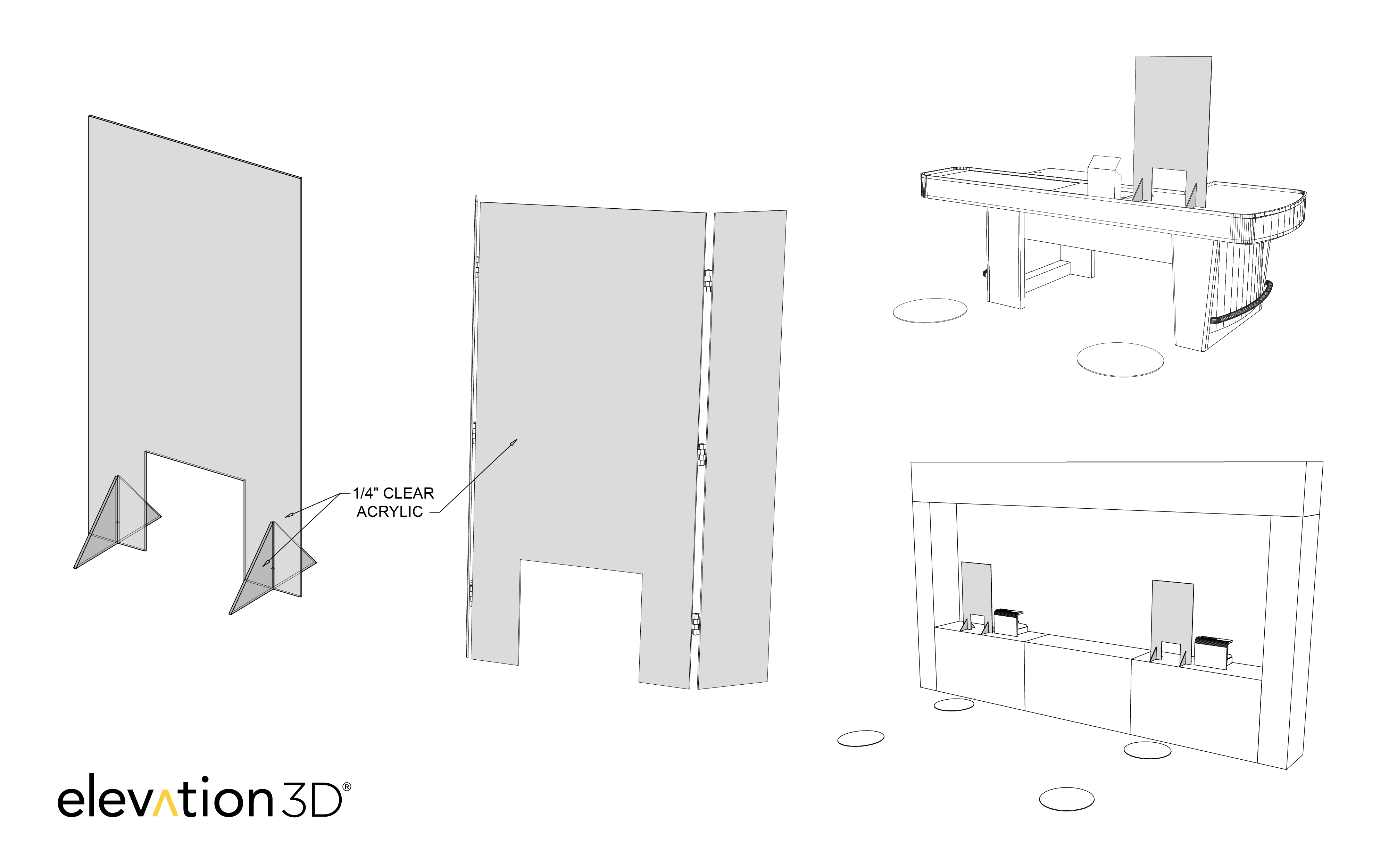 Elevation3D Protective Countertop Shields